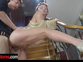 Hot-assed mature mom gets her anal passage massaged right by the stairs