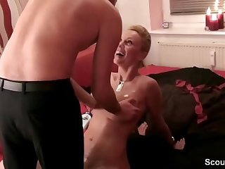 German Step-Son Caught Mom naked and get his First Fuck