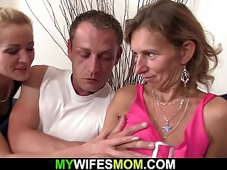 Hairy mother in law rides his dick