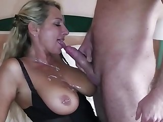 German Big Tit MILF seduce Big Dick Young Boy to Fuck