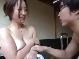 Asian Japanese Mom gets hot Fuck from nerdy Son