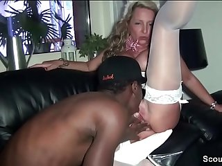 German MILF fuck young Black Boy on Karneval Party