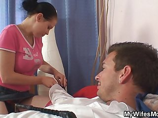 She is shocked finding mom inlaw riding his cock