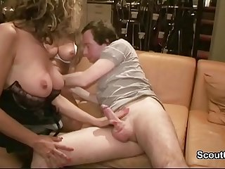 German Mom Caught Fucking with Young boy and start 3some