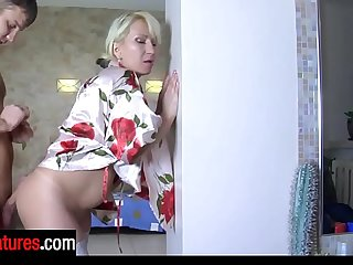 Heated stepmom encourages a stepson with blowjob begging for a from-behind fuck