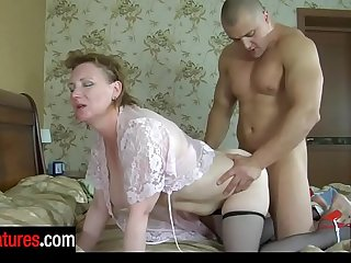 Salacious mature mother goes for wet sixty-nining while probing a guy's dick