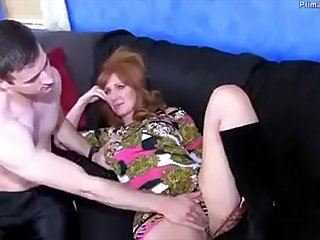Redhead Mom is drunk, so her son has no choice but to help her out.