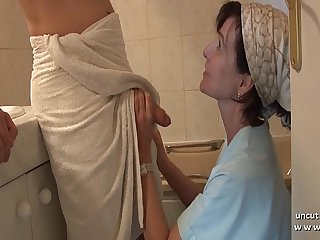 French mom seduces young guy with big cock and gets analyzed