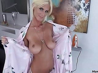Blonde skinny mom blows son!