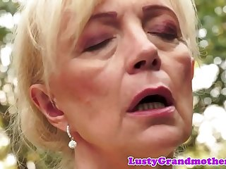 Hairy european granny pussyfucked outdoors