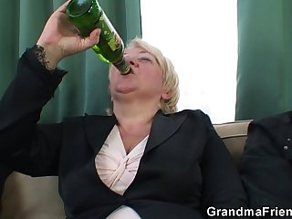 Boozed granny double penetration