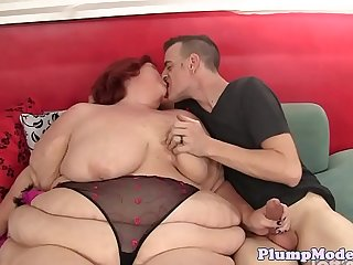 Granny bbw doggystyled by her younger lover