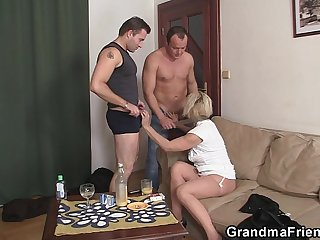 Horny blonde granny double penetration