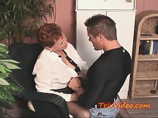 Old retired GRANNY gets some YOUNG COCK