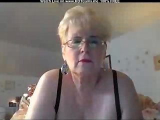 Busty Blonde Granny With Glasses Masturbate