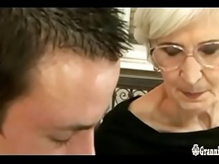 Grizzled Granny With Hairy Pussy Satisfies A Young Cock
