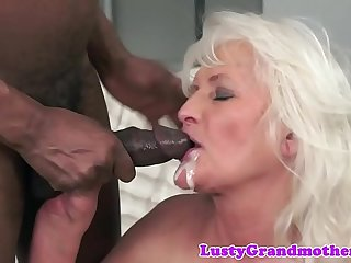 Interracially fucked granny loves to cumplay