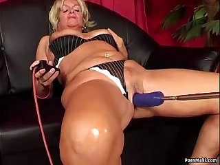 Granny having anal sex with fucking machine