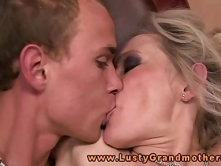 Horny blonde granny amateur fucked hard