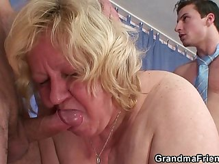 Granny double blowjob and fuck