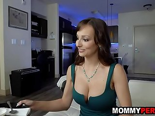 Hot mommy gives step son deepthroat blowjob for 18th b-day