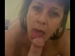 Mom sucks sons cock at hotel