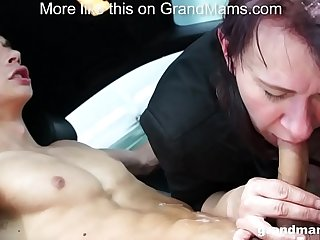 Granny Vicky lustful to suck cock in parking lot GrandMams.com