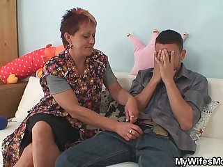 Girlfriends old mom seduces her man