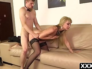 Blonde cheating MILF fucks the hotel boy
