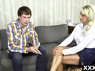 Naughty european MILF with big tits in fucked by son's best friend