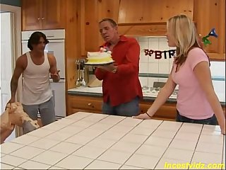 Happy Birthday threesome father, mother and daughter