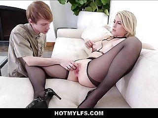 Big Tits Blonde MILF Step Mom Lets Her Young Step Son Fuck Her