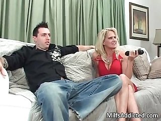 Big tit blonde MILF fills her mouth