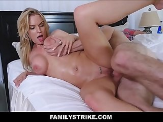 Blonde Big Tits Stepmom Rachael Cavalli Fucks Stepson During Massage